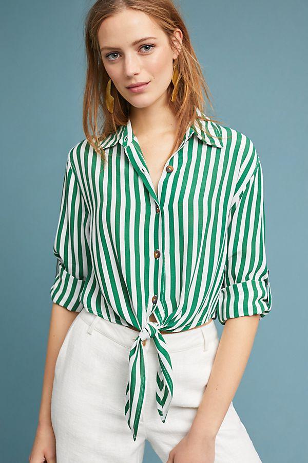 green striped blouse top shirt