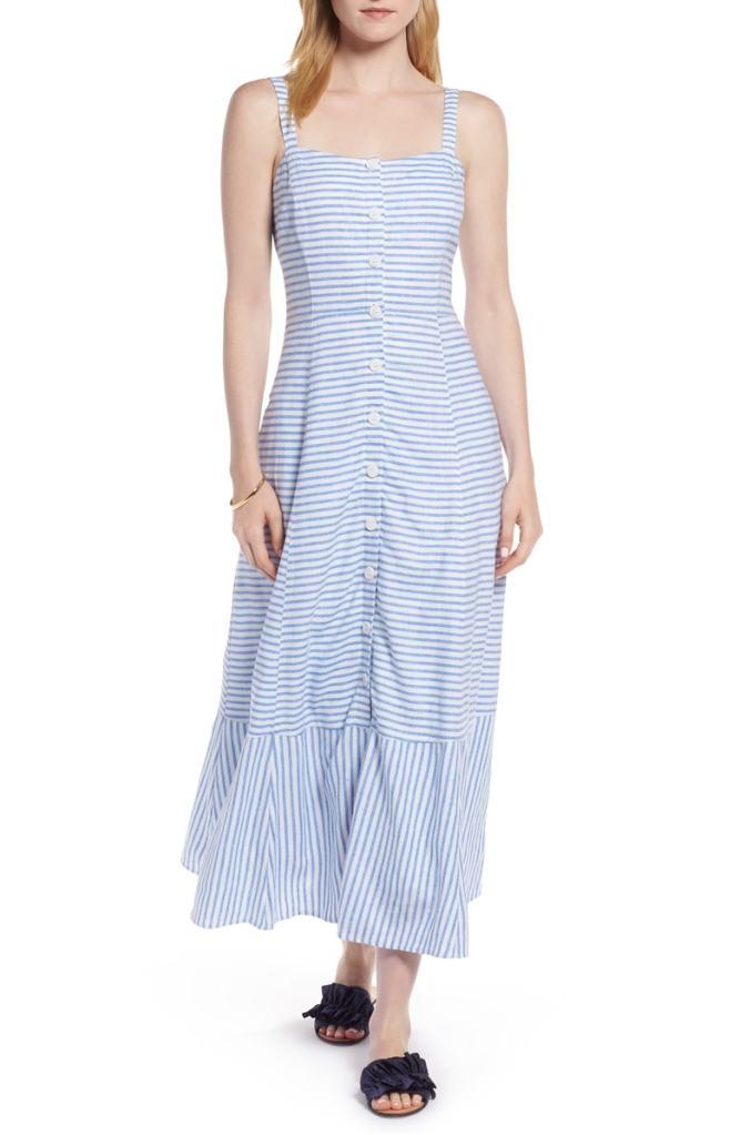 1901 Button Front Stripe Linen Blend Dress