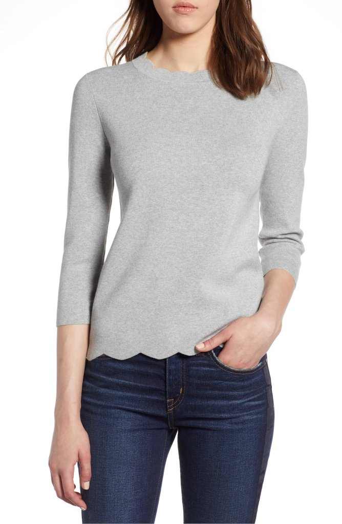 Halogen Scallop Edge Sweater