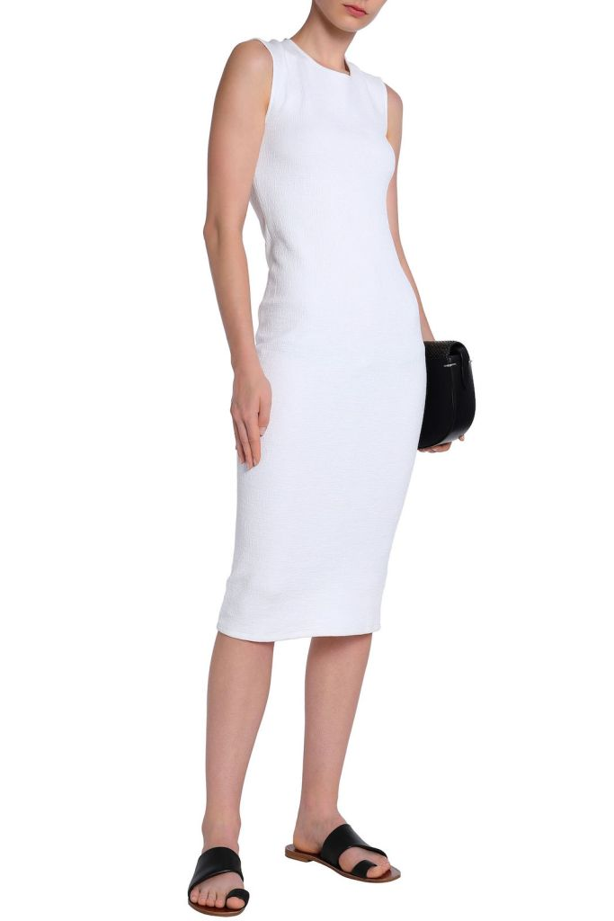 James Perse Cotton-Blend Slub Jersey Midi Dress