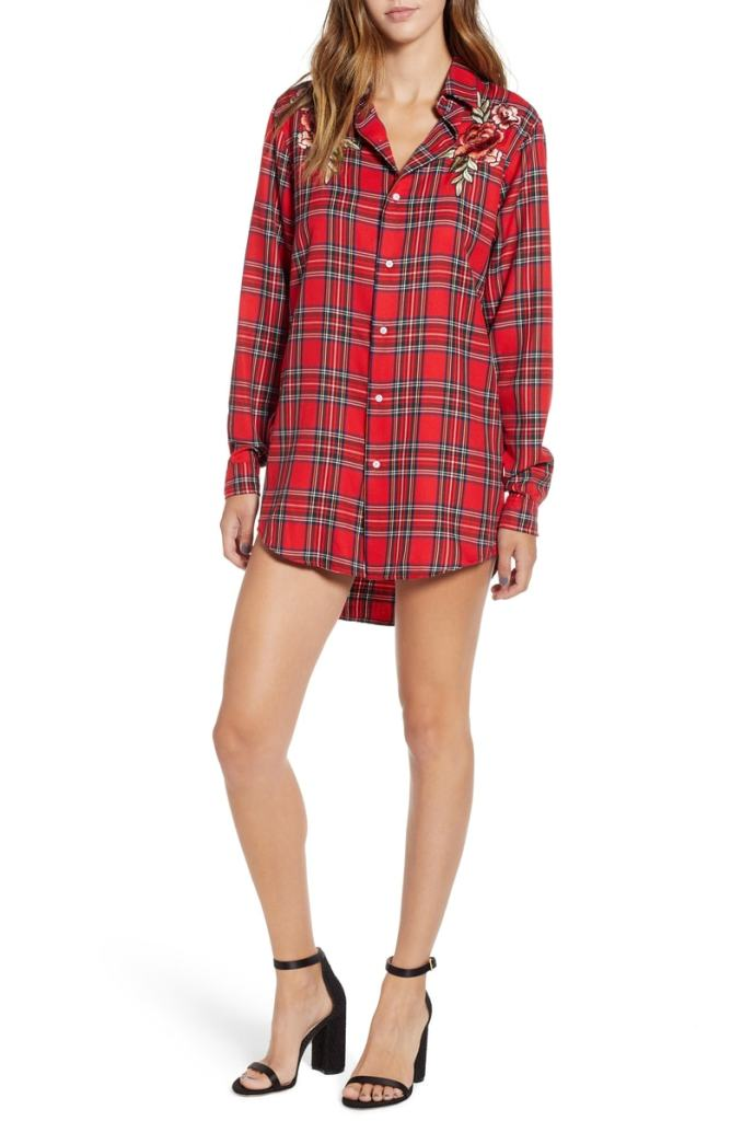 Kendall +Kylie Embroidered Plaid Shirtdress