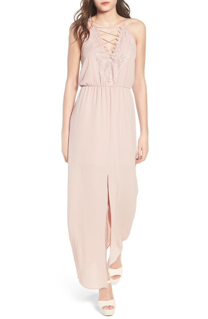 pink maxi dress lace up