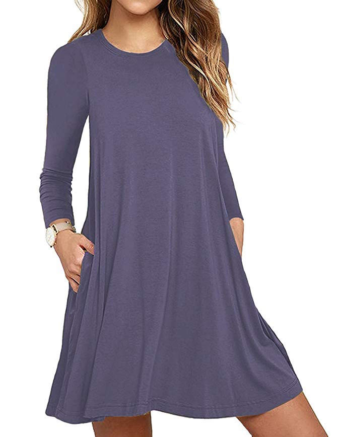 c04053ba7a07 The Long Sleeve Pocket Casual Loose T-Shirt Dress is much more than an  errand-worthy ensemble. The stretchy number s rounded neckline and fit and  flare ...