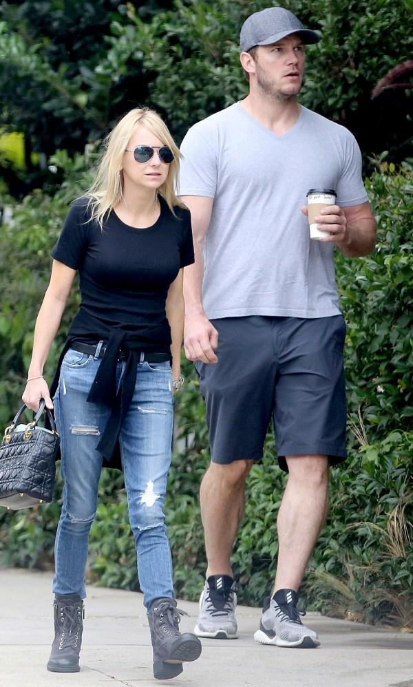 Chris Pratt and Anna Faris Reunite for a Family Walk: Pics