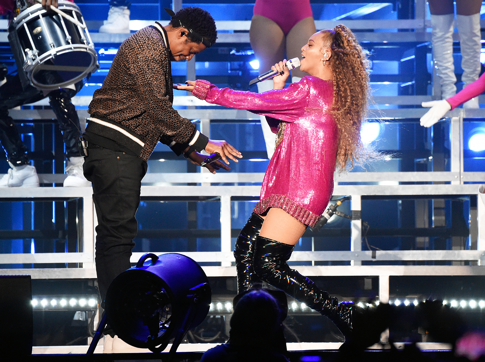 """Jay-Z Beyonce Coachella - Jay-Z made a surprise guest appearance during Beyoncé's headlining set at the Coachella Valley Music and Arts Festival. They performed their 2006 collaboration """"Déjà Vu."""""""