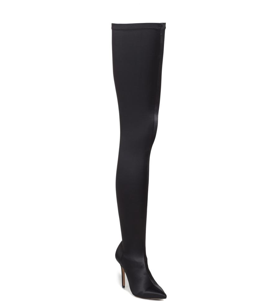 black satin thigh high boots on sale