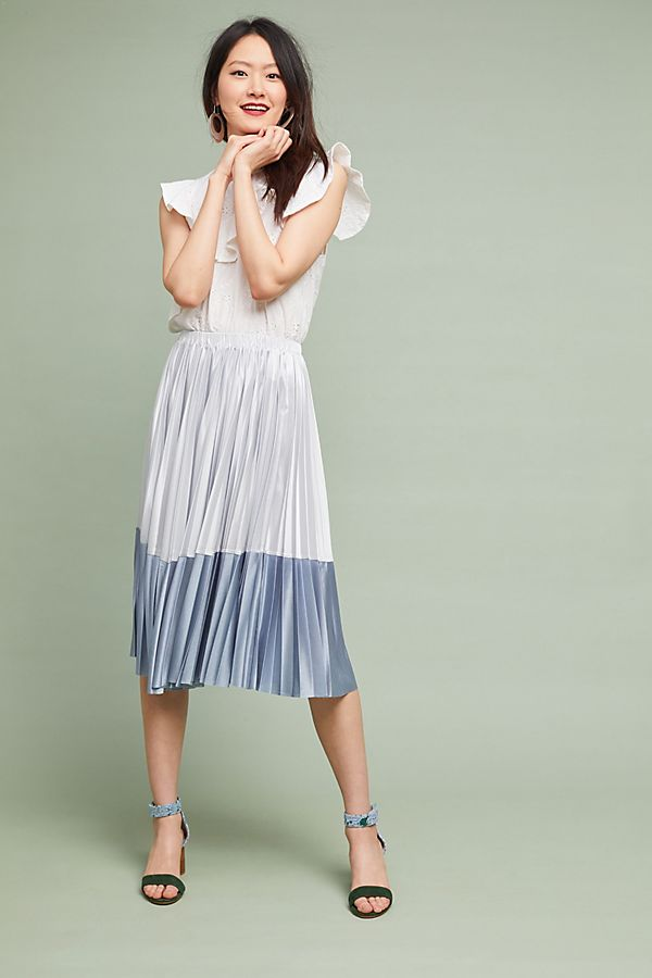 pleated skirt metallic blue and white anthropologie