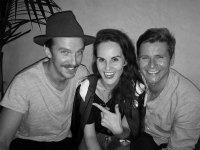 downtown abby costars reunite Michelle Dockery, Dan Stevens, and Allen Leech