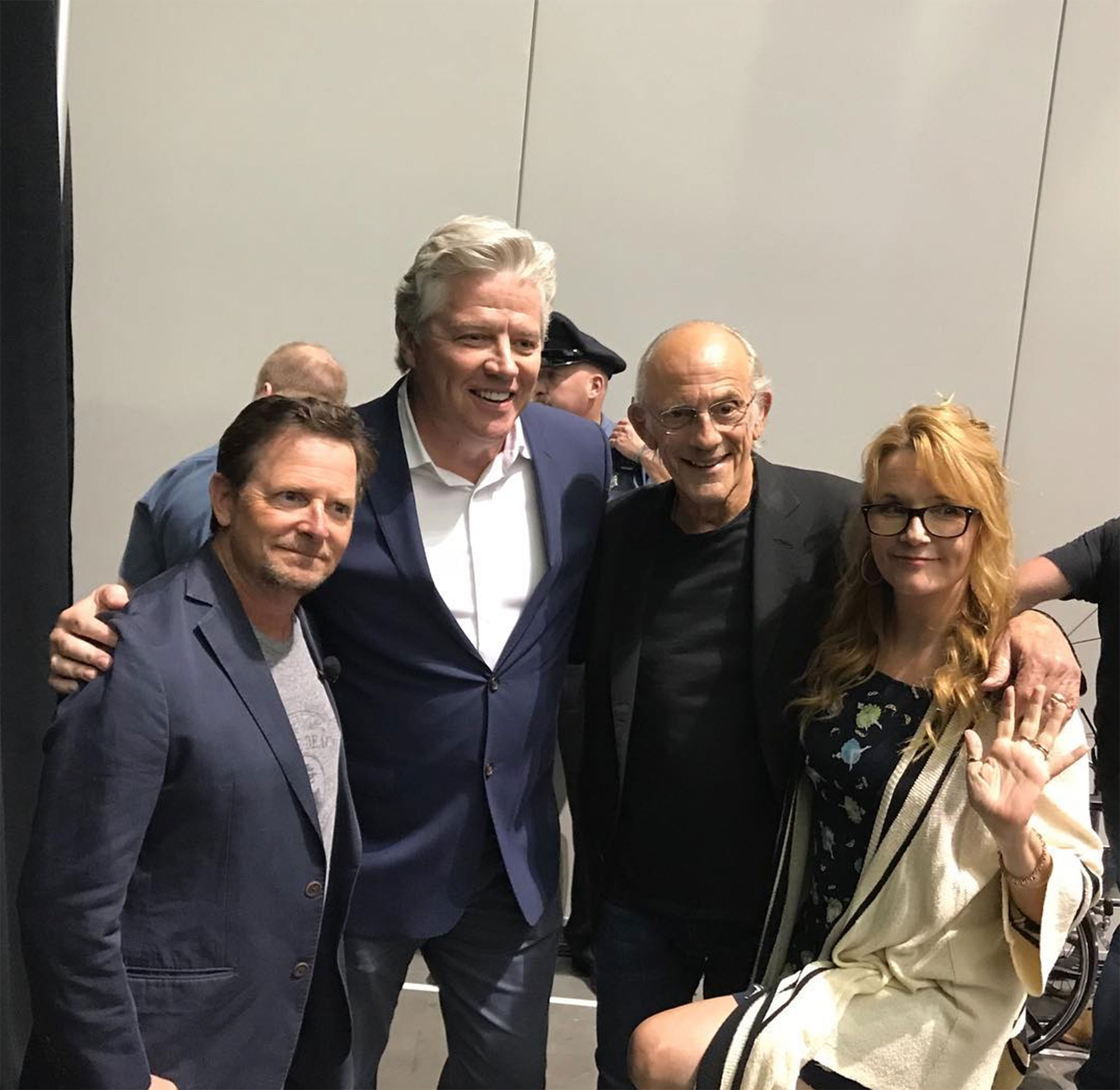 """back to the future Michael J. Fox, Christopher Lloyd, Lea Thompson, and Thomas Wilson - The cast of the hit franchise — Michael J. Fox, Christopher Lloyd, Lea Thompson, and Thomas Wilson — reunited at the Fan Expo in Boston in August 2018. """"Back in 2018, even Biff made it,"""" Fox captioned an Instagram pic of the former costars."""