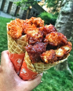 Fried chicken in a waffle cone