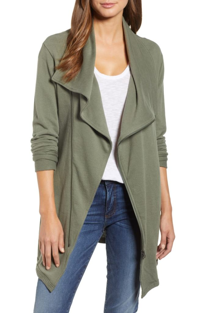 green draping jacket