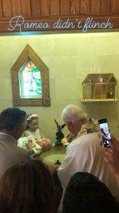 Alec Baldwin, Hilaria Baldwin, and Romeo Baldwin kids baptism
