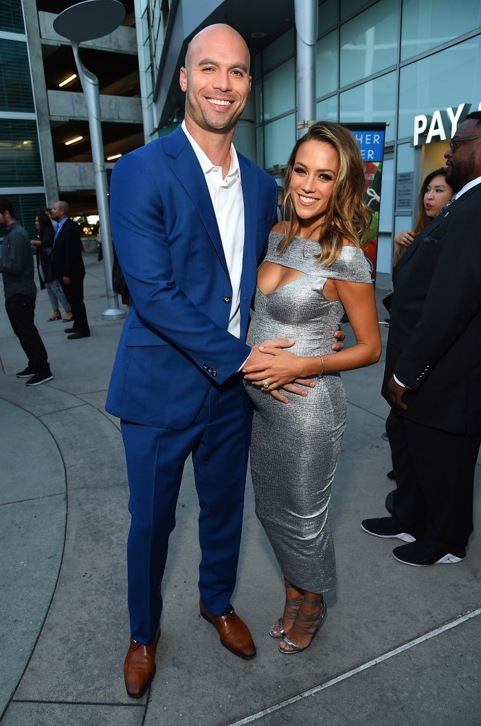 Actress Jana Kramer (R) and Mike Caussin attend the Los Angeles Premiere of Support The Girls on August 22, 2018 in Los Angeles, California.