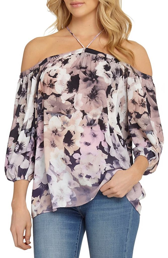 off shoulder chiffon top