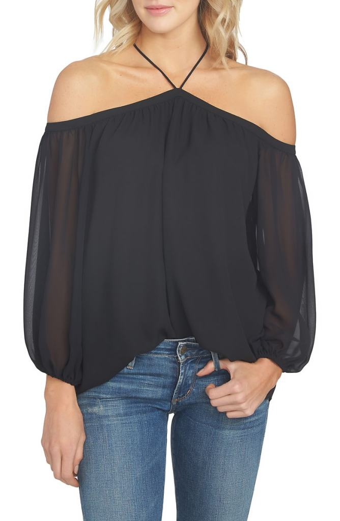 sheer chiffon blouse off shoulder