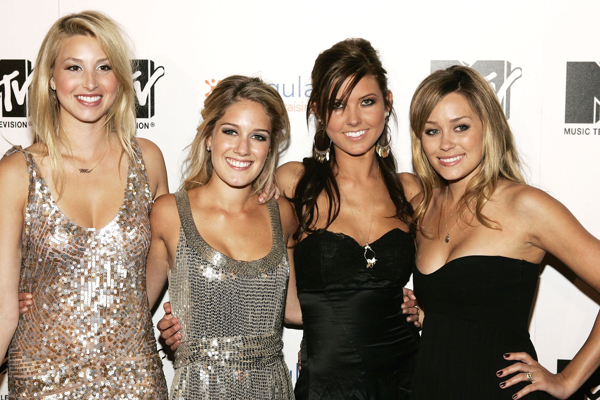 """the hills reboot lauren conrad audrina patridge whitney port heidi montag - Cast members (L-R) Whitney, Heidi, Audrina and Lauren attend the viewing party for the MTV Music Television documentary/drama show """"The Hills"""" on May 31, 2006 at club LAX in Los Angeles, California. (Photo by Vince Bucci/Getty Images For MTV)"""