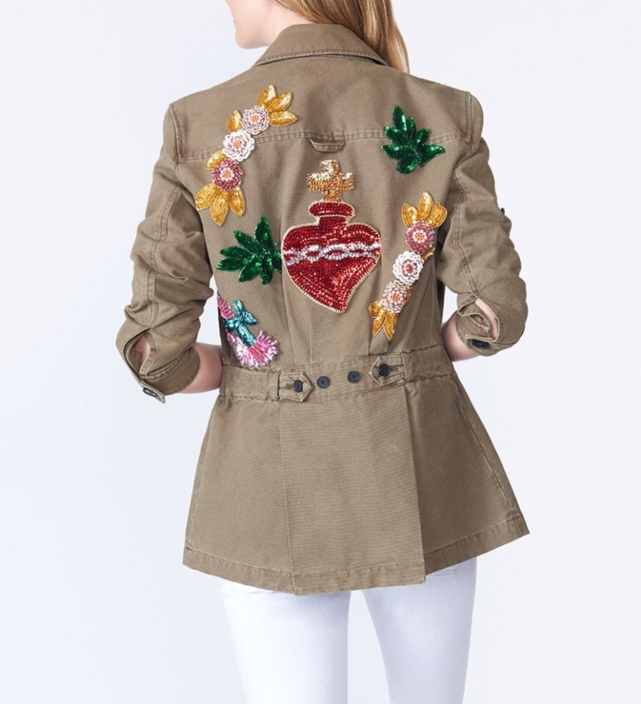 veronica beard corduroy jacket with sequins along the back