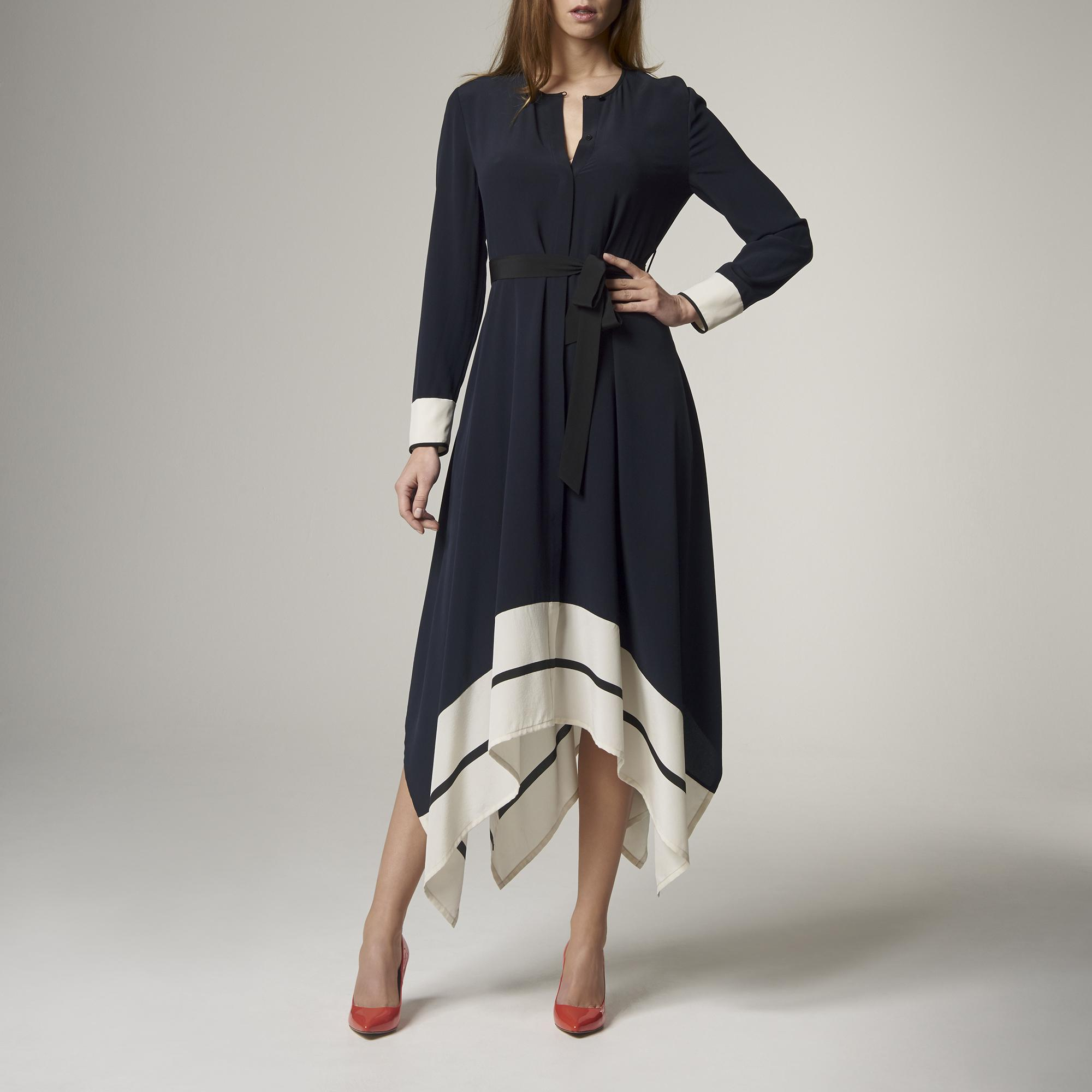 Clarine Navy Silk Dress