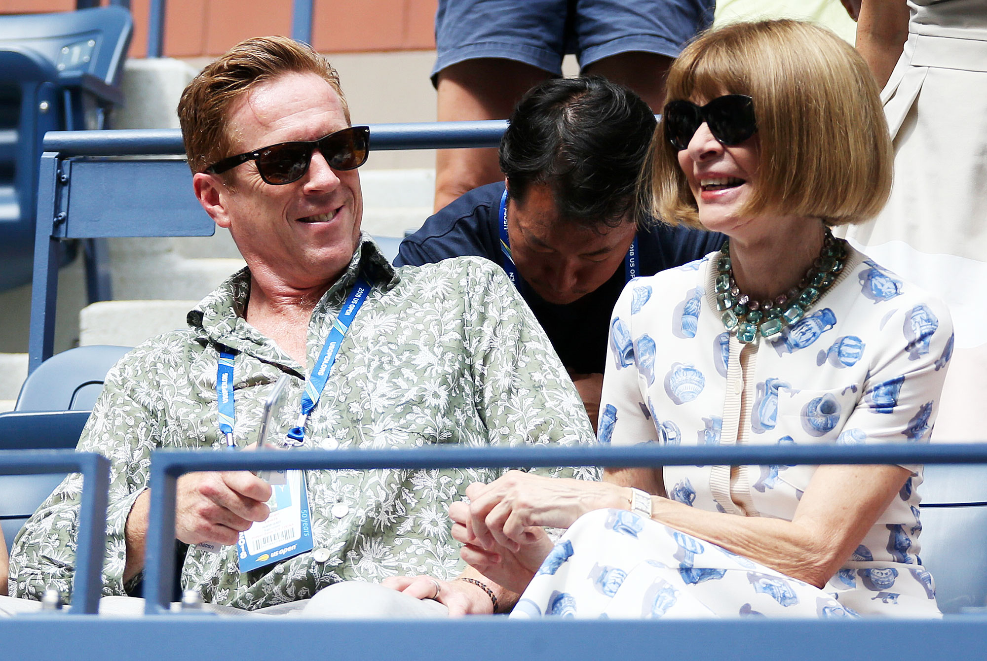 Damian Lewis Anna Wintour Us Open 2018 - The Homeland alum and the Vogue editor-in-chief shared a laugh on August 30.