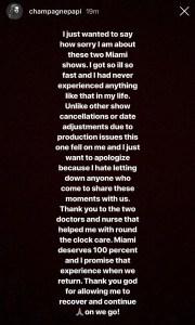 Drake, Show, Cancelled, Illness, Instagram Story