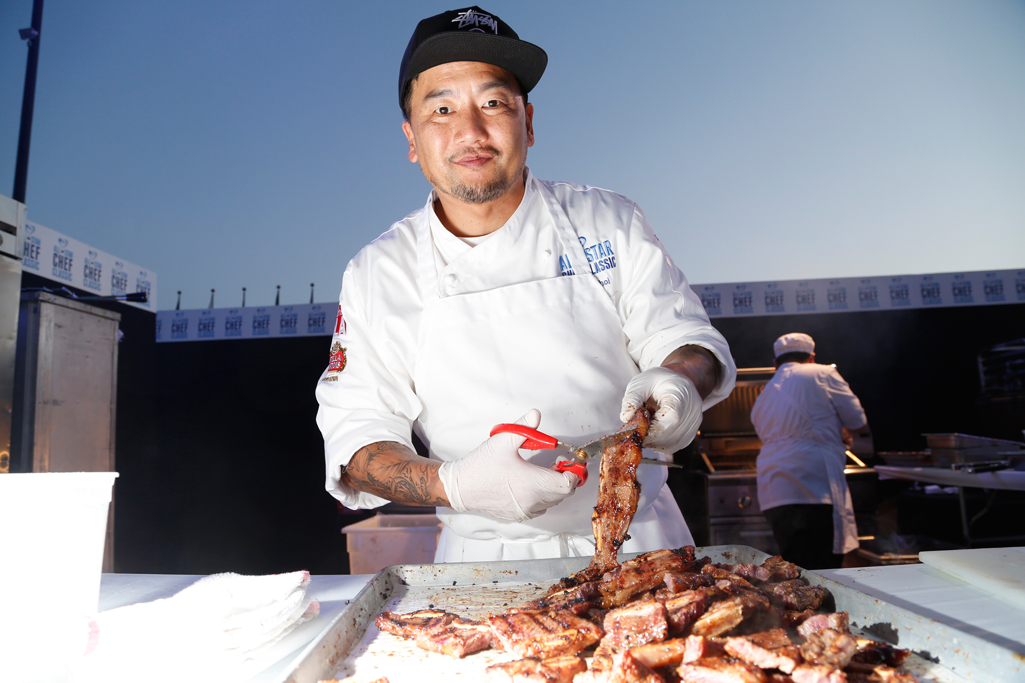 Hottest Male Chefs: Curtis Stone, Antoni Porowski and More - Choi, is known for being one of the earliest pioneers of the food truck craze – thanks to his own gourmet Korean taco truck, Kogi – and he has been a prolific fixture on the Los Angeles food scene for years. The Korean-born cook, 48, who is known for melding various cuisines also teaches students in South Los Angeles how to cook.