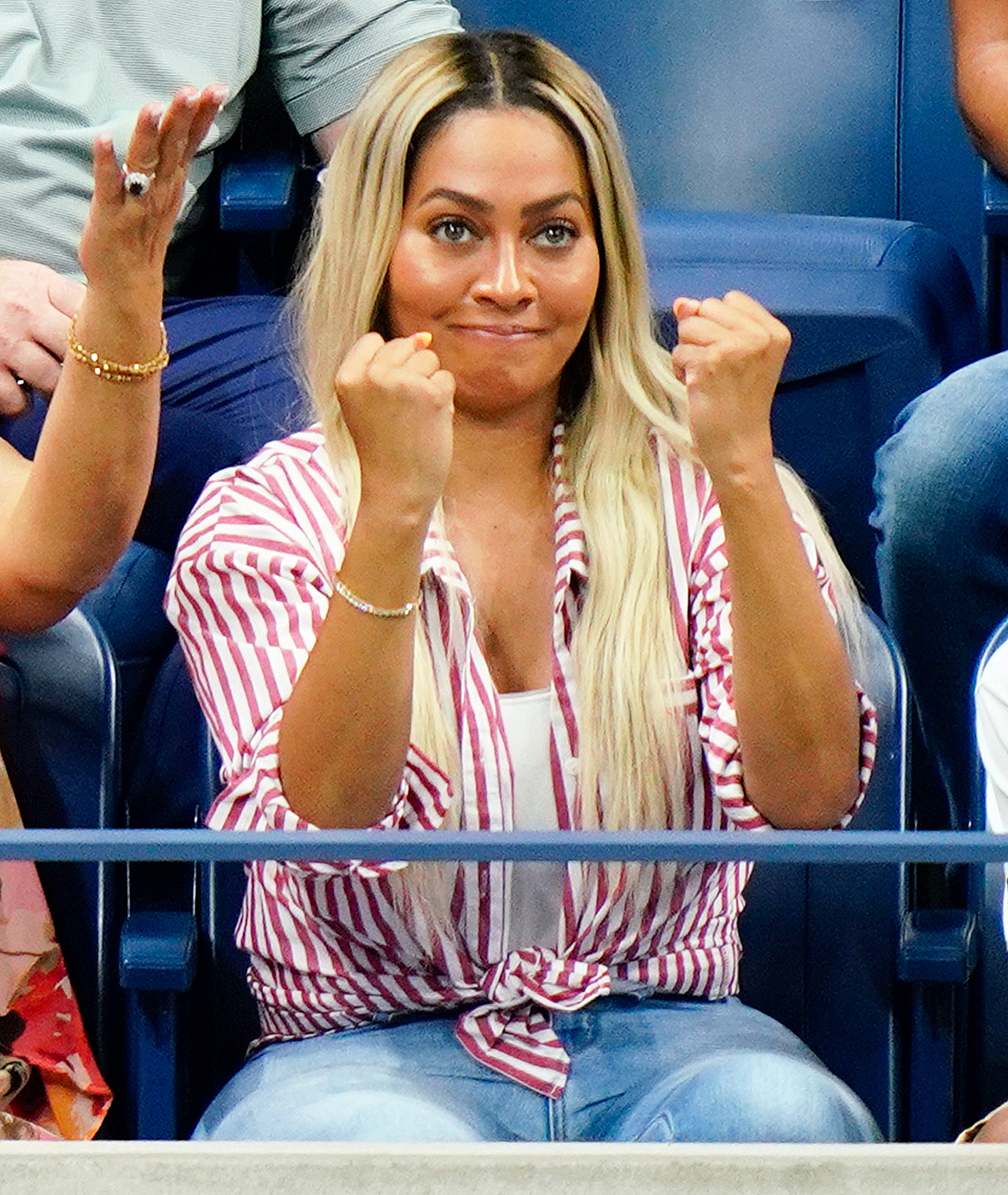 Lala Anthony Us Open 2018 - The actress shook her fists during the September 4 match.