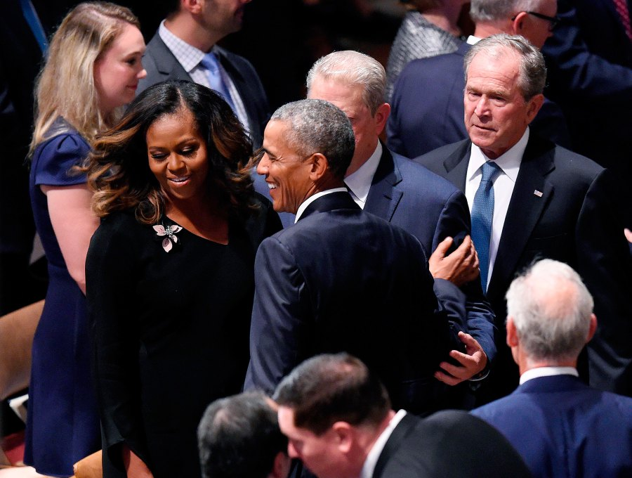 Michelle Obama, Barack Obama, Al Gore, George W. Bush, US Senator John McCain, Memorial, Funeral