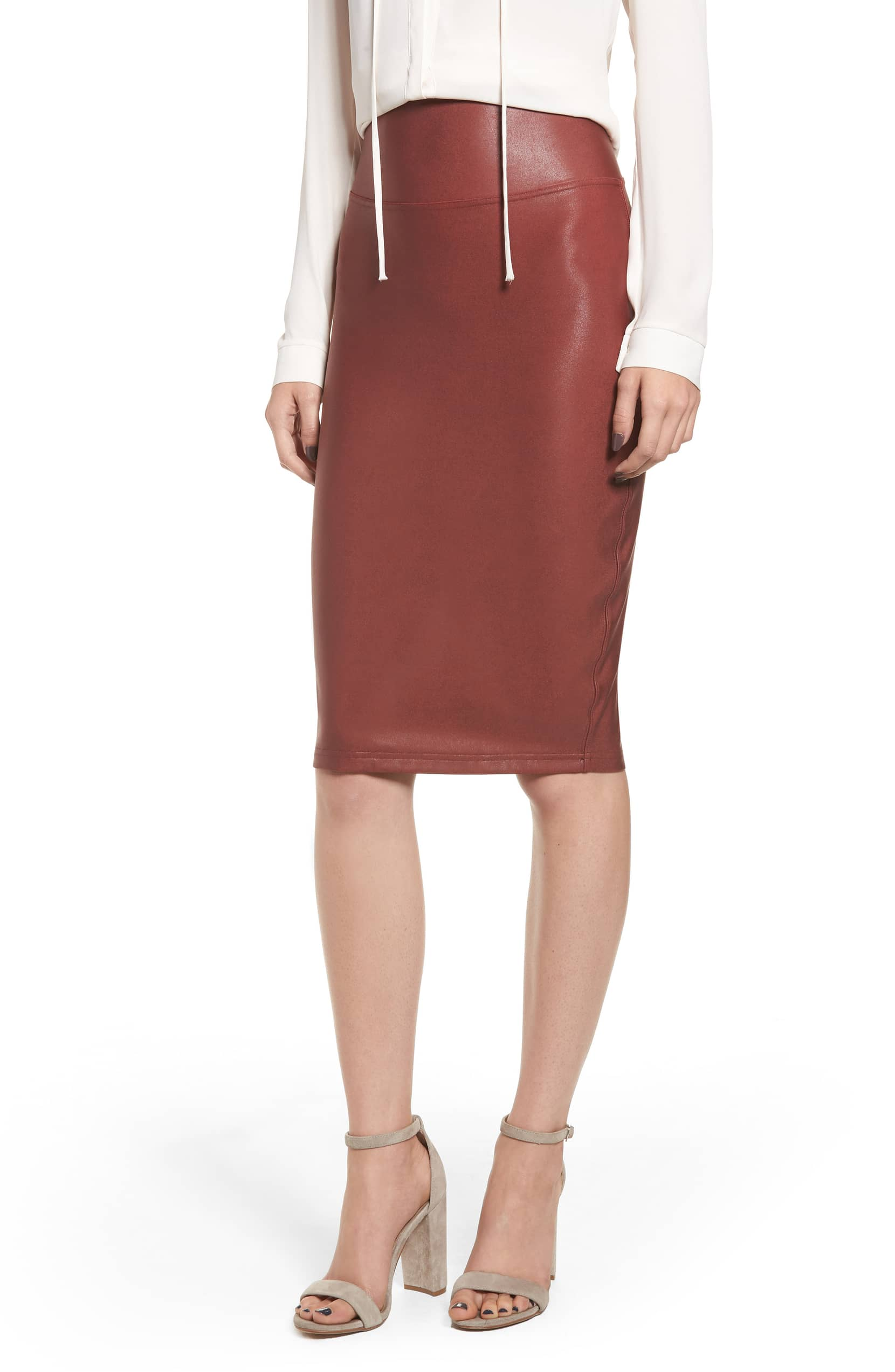 Shop This Spanx Faux Leather Skirt for Chic Shapewear Apparel 66f1b8e5b