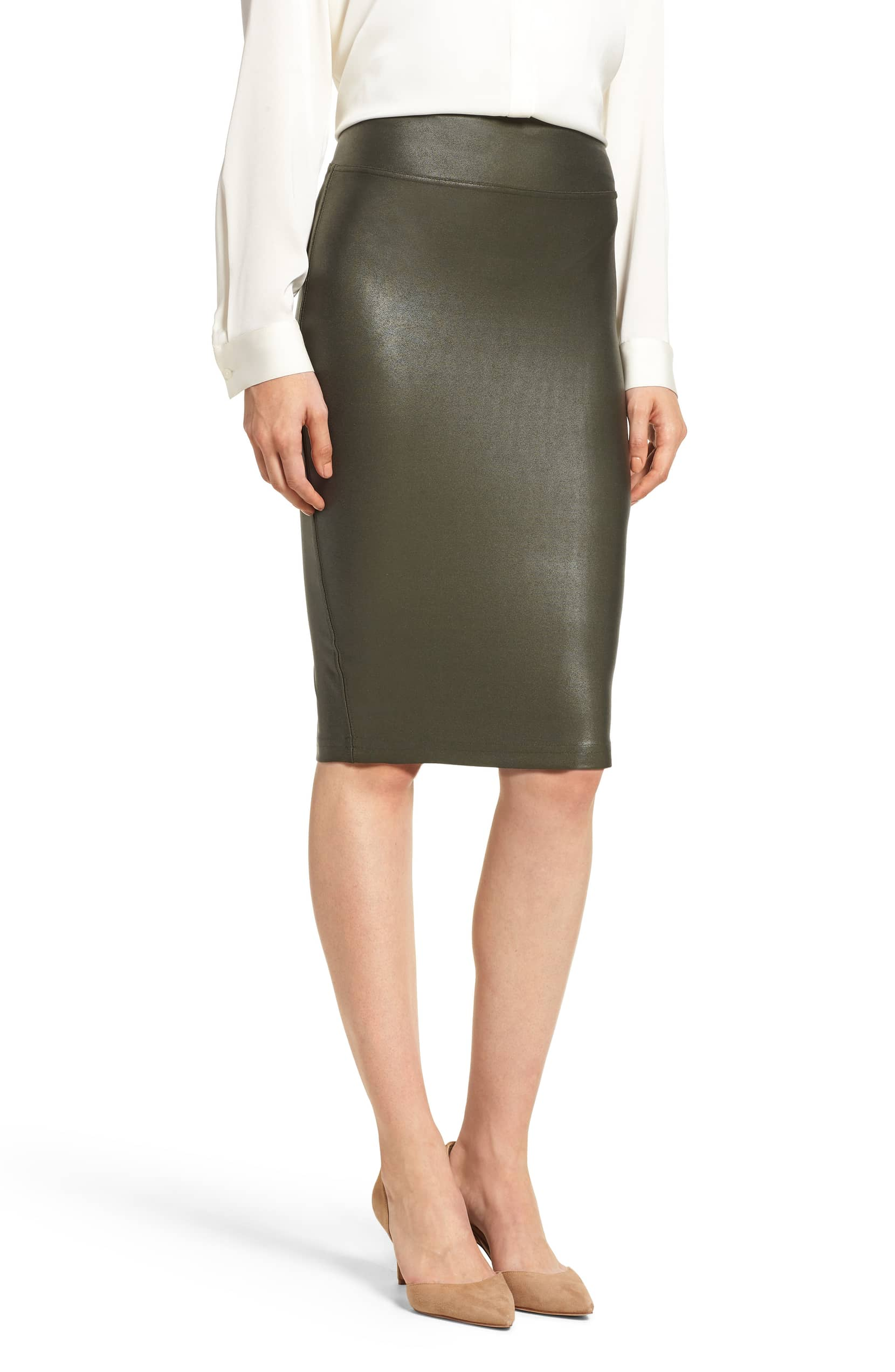 Shop This Spanx Faux Leather Skirt For Chic Shapewear Apparel