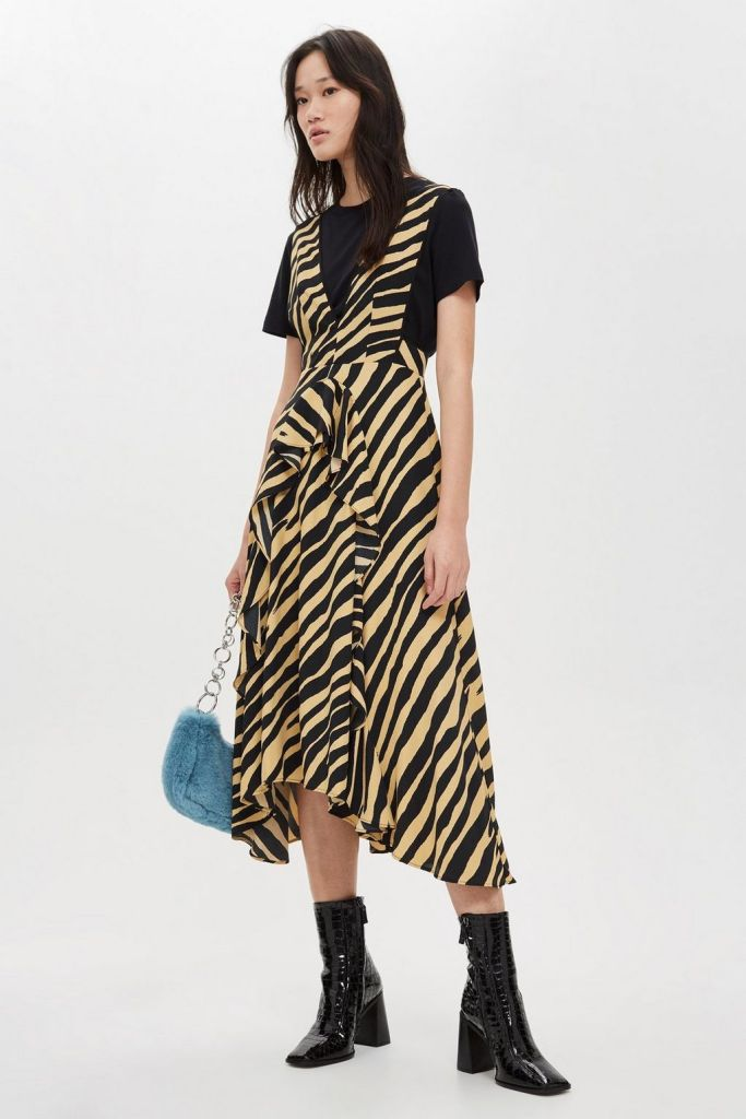 Zebra Print Pinafore Dress