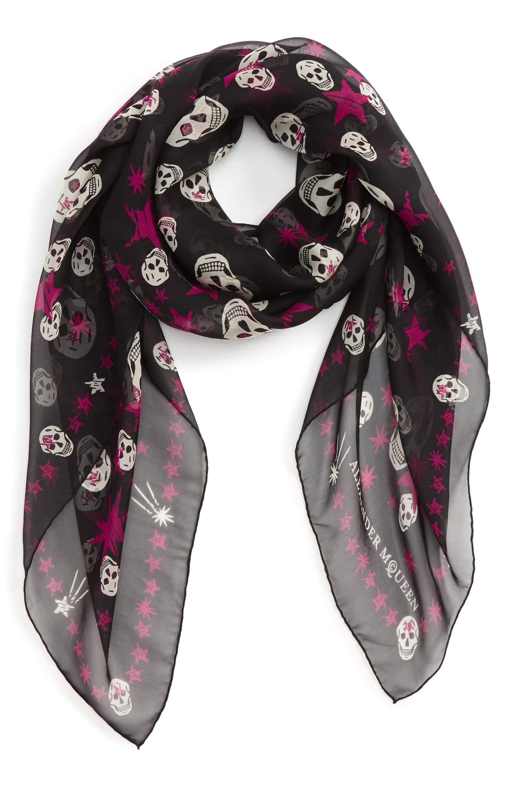 alexander mcqueen skull scarf with pink stars