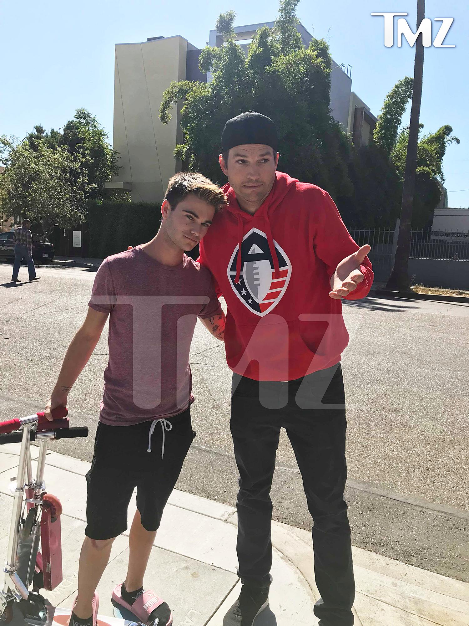 Ashton Kutcher Hit Man With Car Takes Photo