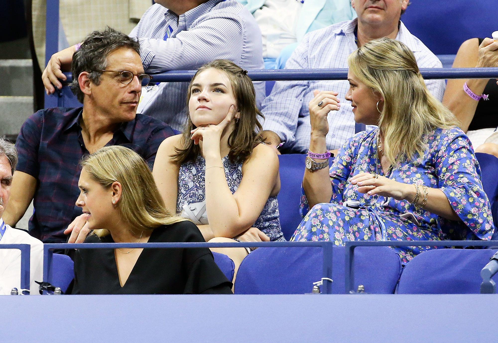 Ben Stiller Christine Taylor Ella Stiller Us Open 2018 - The estranged couple, who seem to remain friendly despite their May 2017 split , chatted as daughter Ella, 16, kept her eye on the August 29 match.