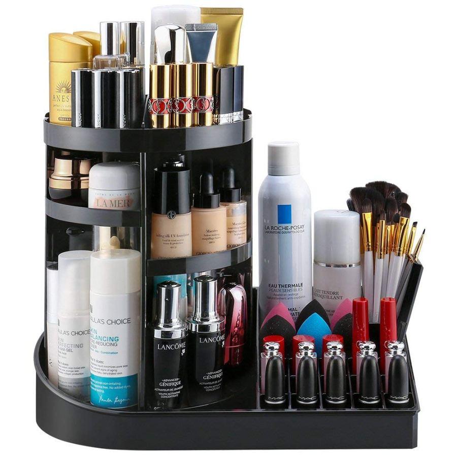 black makeup rotating organizer