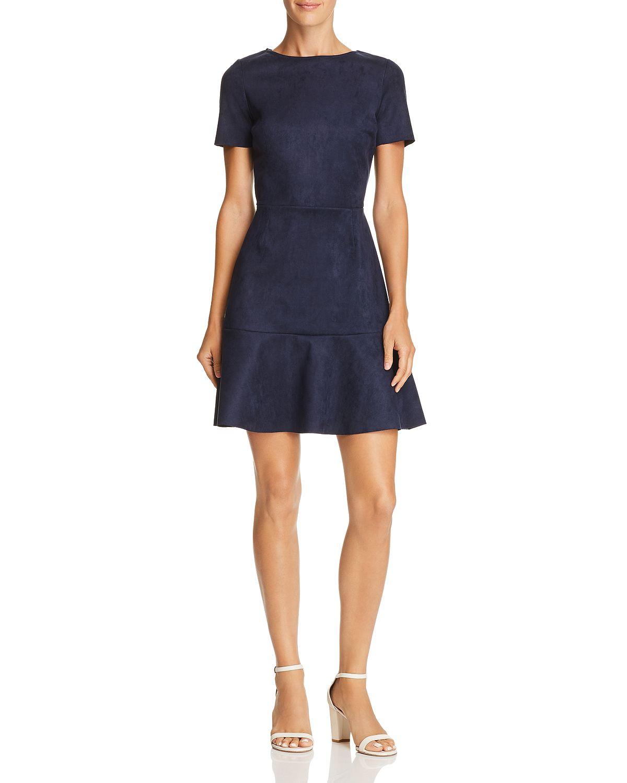 blue faux suede dress