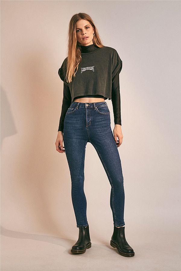 blue high waist pine jeans