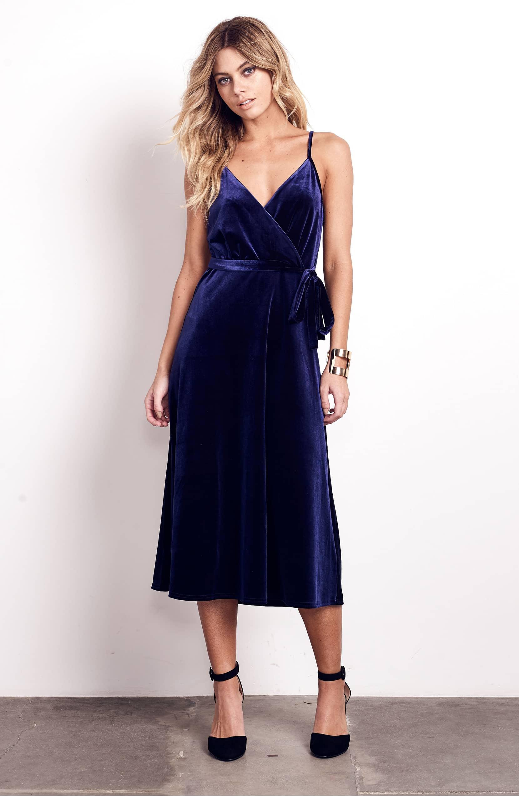blue velvet midi dress ali & jay nordstrom