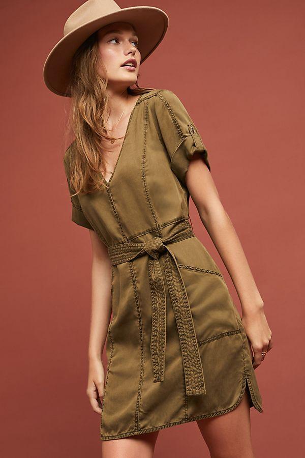 brown shirt dress