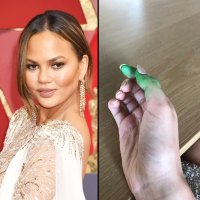 Chrissy Teigen and fun dip stained hands