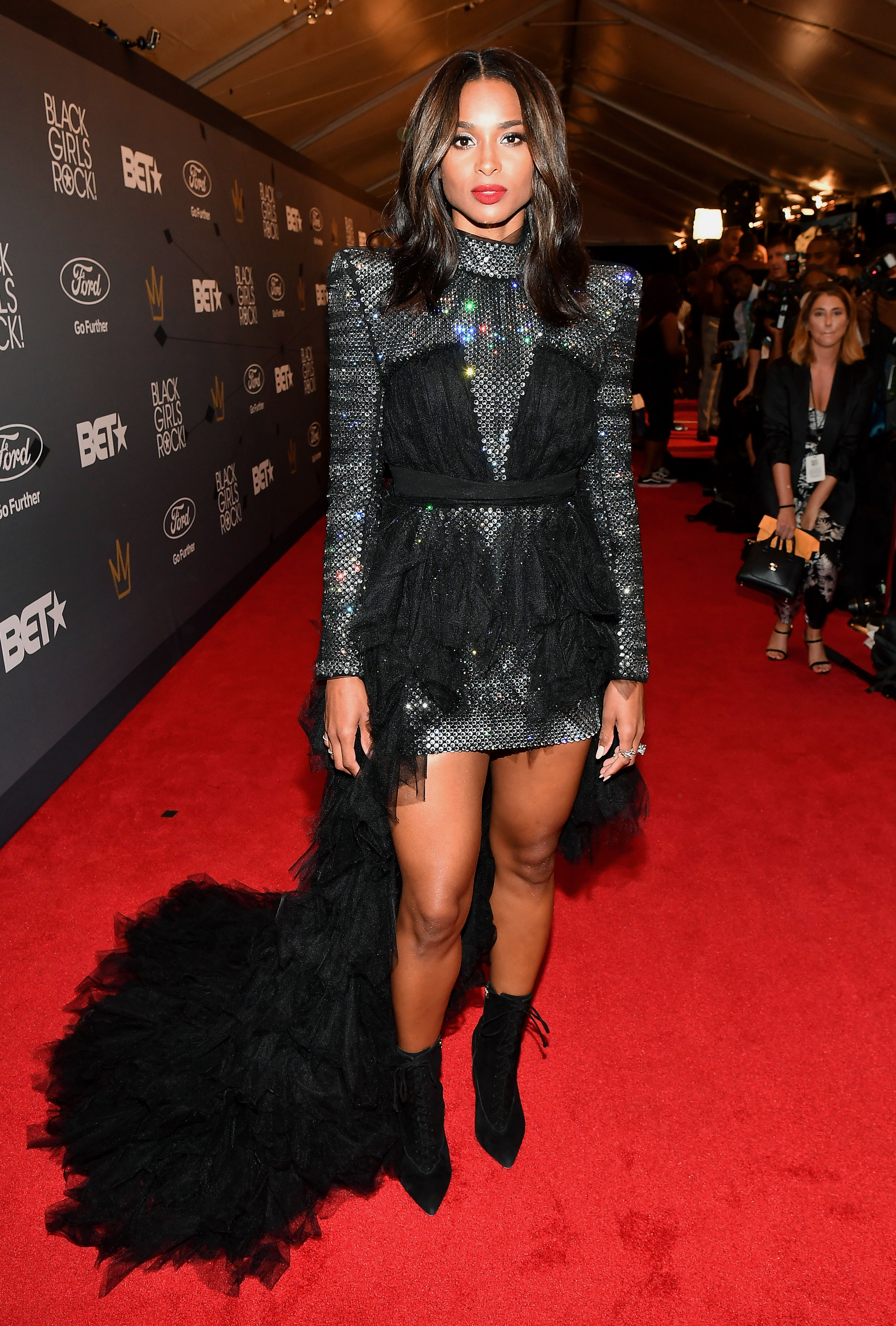 ciara - In a sparkly Balmain mini, Zvelle boots and Stephen Webster jewels on the Black Girls Rock! red carpet.