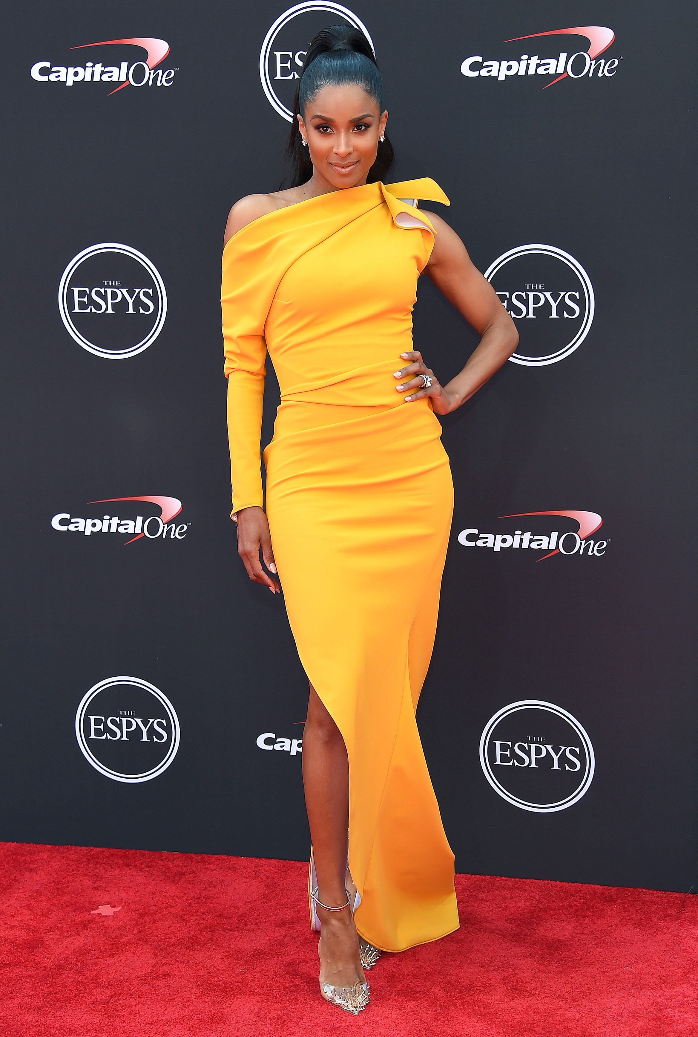 ciara - In a canary yellow Maticevski dress and studded Christian Louboutin pumps at the ESPYS.