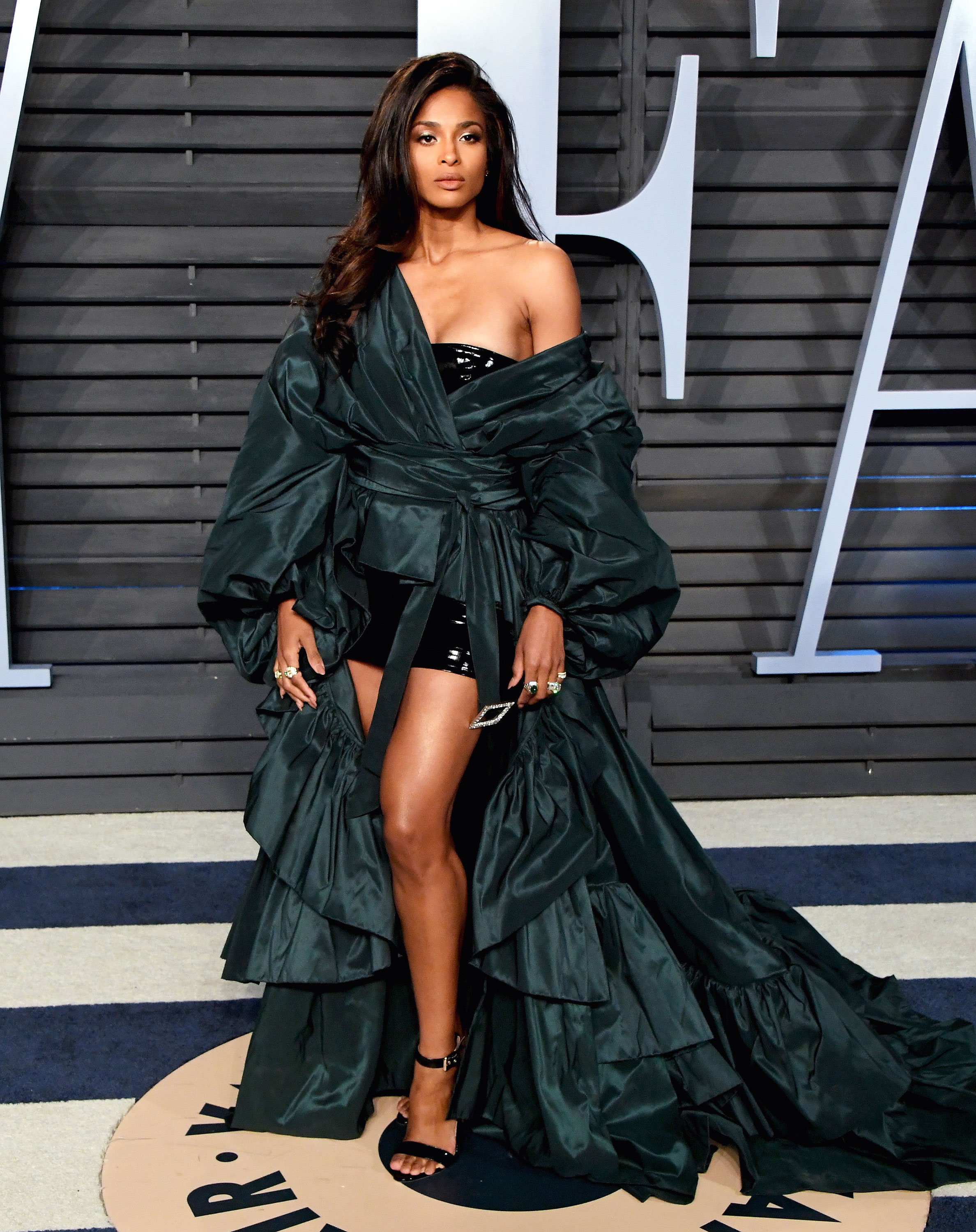 ciara - In a voluminous Alexandre Vauthier creation and Brian Atwood sandals at the Vanity Fair Oscar Party.