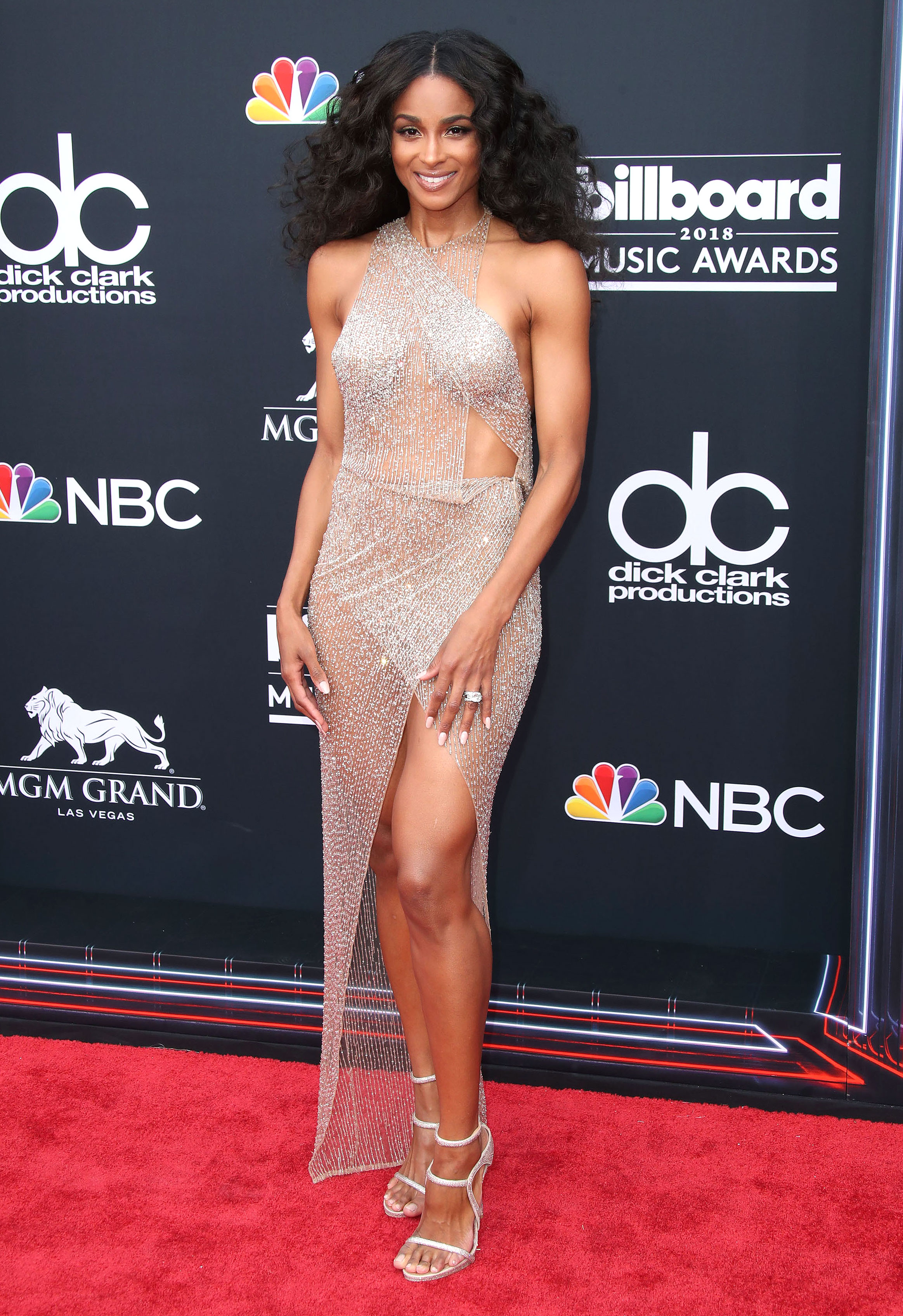 ciara - In a Julien Macdonald nearly naked gown, Le Vian earrings and strappy Le Silla sandals at the Billboard Music Awards.