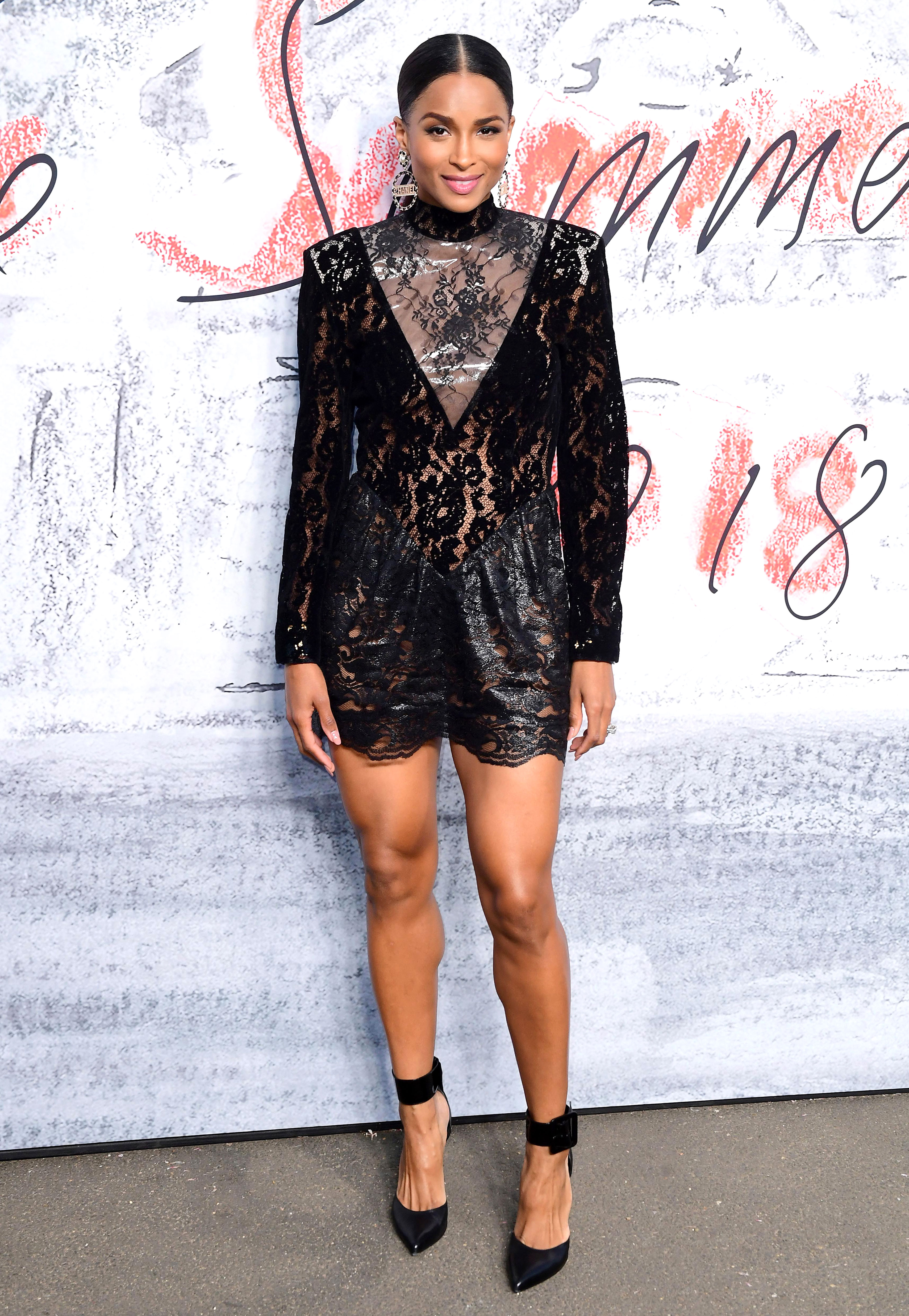 ciara - In a lacy Christopher Kane mini, Chanel hoops and Saint Laurent heels at the Serpentine Gallery Summer Party.