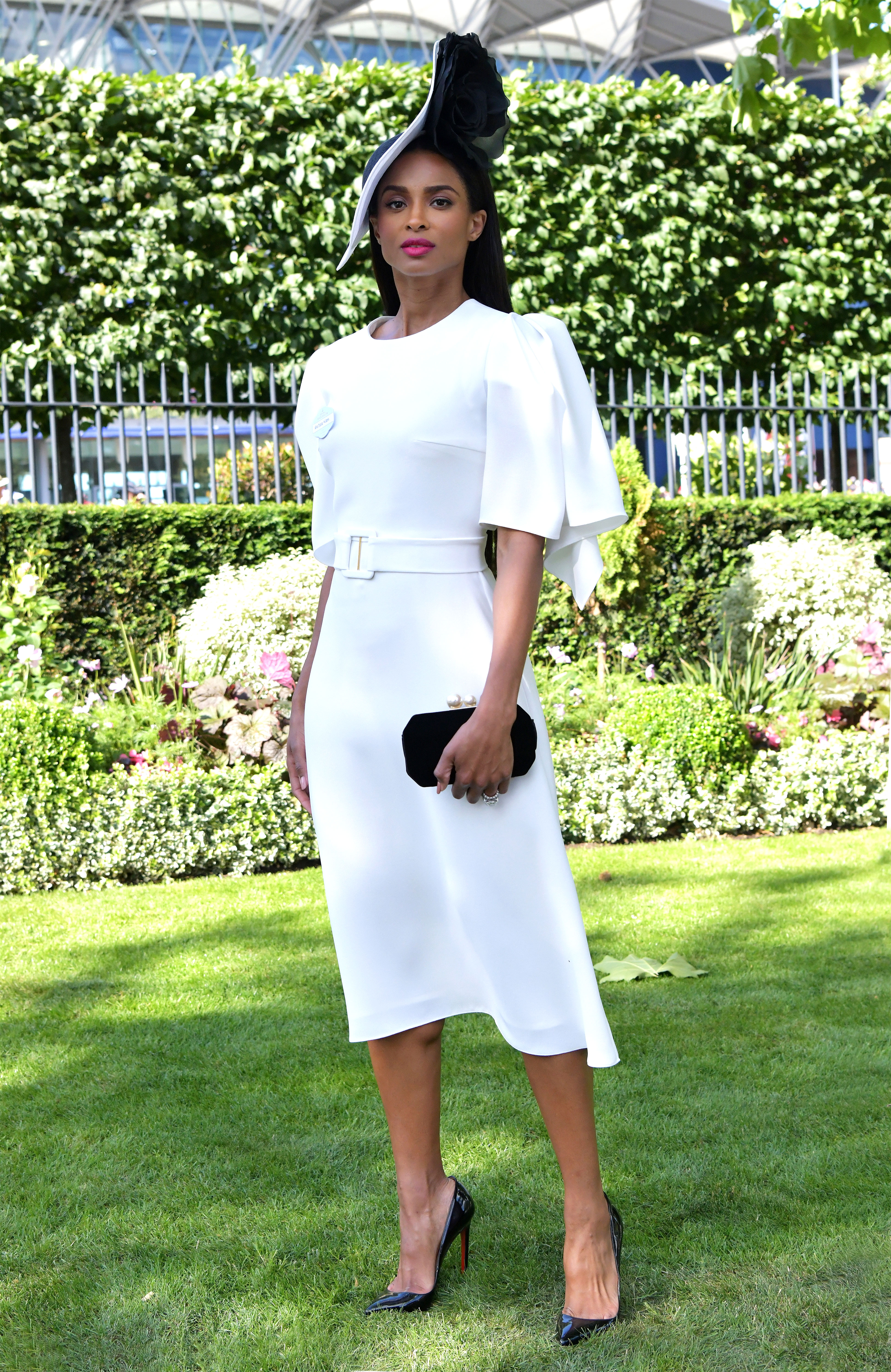 ciara - In a custom white Edeline Lee frock, Phillip Treacy hat and Cristian Louboutin pumps at the Royal Ascot.