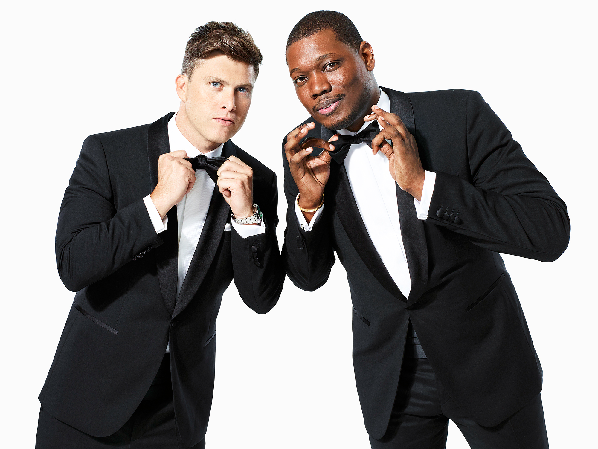 "Colin Jost Michael Che Emmy Awards Host 2018 - NBC announced in April that the Saturday Night Live head cowriters and ""Weekend Update"" hosts would emcee the 2018 ceremony. ""We're proud to be the first duo hosting the Emmys since Jenna Elfman and David Hyde Pierce, and somehow that's a real fact,"" the duo said in a joint statement at the time, per Variety."