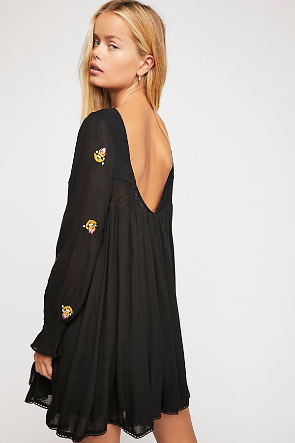 black floral embroidery dress