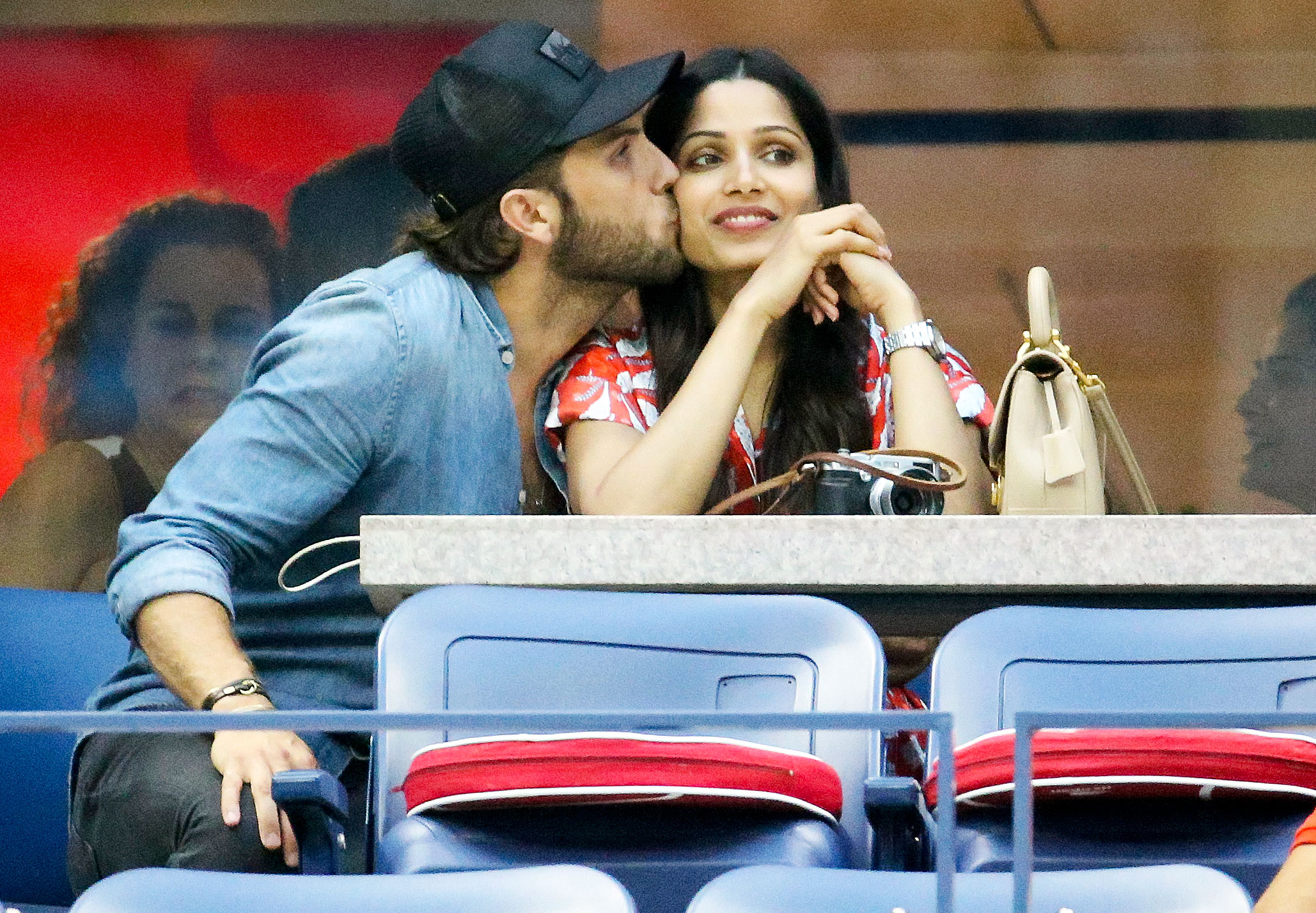 Freida Pinto Us Open 2018 - Pinto received a sweet smooch from her boyfriend, Cory Tran, on September 2.