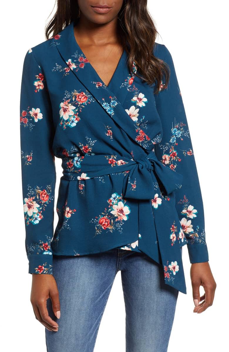 gibson floral wrap blouse