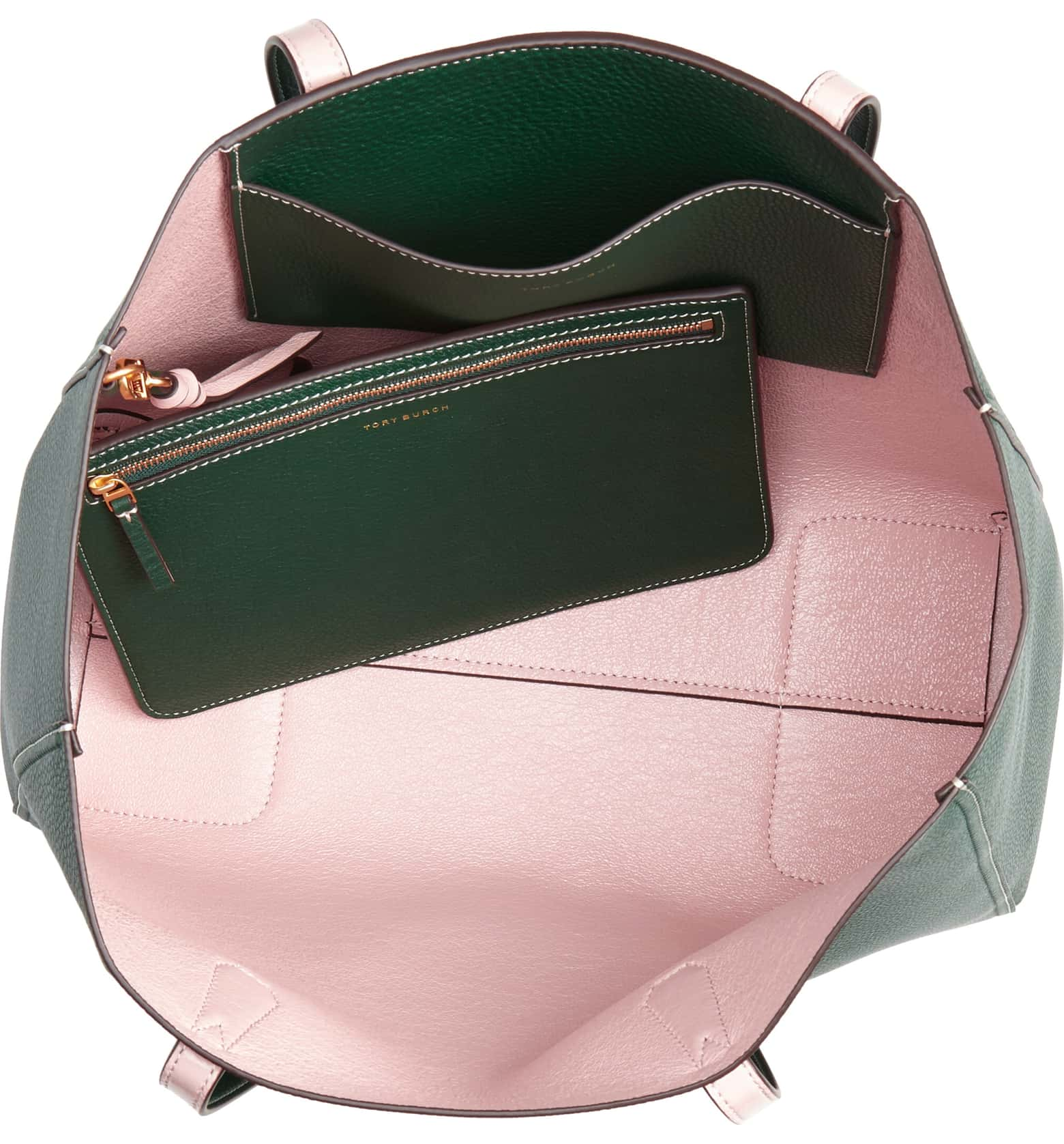 green tory burch tote with light pink interior